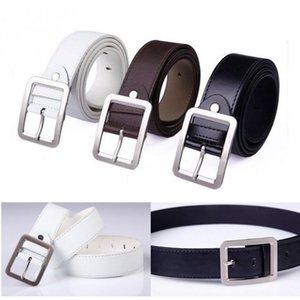 Männer Künstliches Leder Gurt-Mann-Gürtel Mode-Luxus-Bügel-Mann Warten Band Bund Retro Schnalle schwarz weiß braun # 5