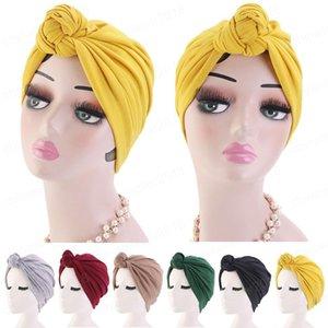 Женщины Упругие моды для женщин Большой лук Тюрбан плиссе Hat Bow Knot Bonnet Hat Химиотерапия волос Cap Мягкая Soild Цвет Caps Headwear араба