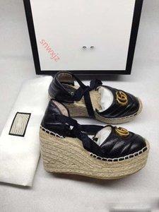 Gucci Pescador Shoes casamento vestido de festa de couro genuíno Designer Mulheres Sandals Espadrille Strap Rodada cunha salto saltos Moda