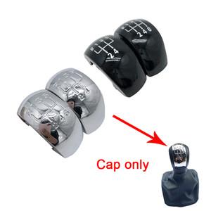 Chrome Preto / 6 engrenagem Speed Shift Botão Knob vara Cap tampa de plástico prata para Skoda Octavia MK2 II (04-08) II FL (08-11)