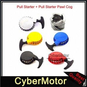 Pull in alluminio Starter + Pull Starter Pawl Cog Per 2 Tempi 47cc 49cc Pocket Bike Mini Moto Dirt bambini ATV Quad bambino Crosser yuaS #