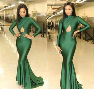Green High Neck Prom Dress Sexy Keyhole Long Sleeves Celebrity Formal Wear Evening Party Gown Custom Made Plus Size