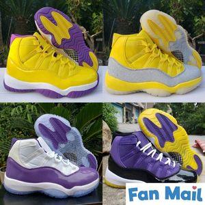 2020 nuevos zapatos de alta 11 XI WMNS metálica de plata amarillo blanco púrpura 11s para hombre de baloncesto de tamaño superior Jumpman Deportes Formadores descuento 7-13