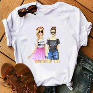 Ladies Cute Cartoon Girl Printed Tshirt Loose Casual Short Sleeve Round Neck Fashion Famale Tees