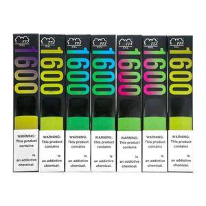 퍼프 XXL 일회용 vape 펜 포드 장치 퍼프 XXL 1000mAh 배터리 6.5 ml 1600 퍼프 키트 일회용 전자 담배 10 색