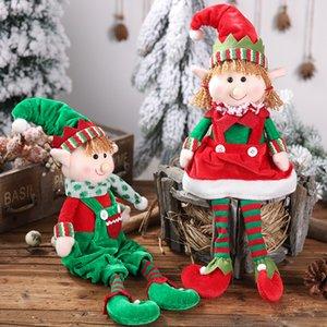 Nuevos productos de Navidad de piernas colgantes regalos de Navidad Elfos postura sentada muñeca Adornos Niños Elfos muñeca Decoraciones al por mayor 2021 Nueva