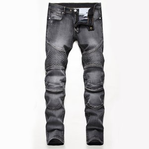 Unique Mens Straight Slim Fit Jeans Fashion Distressed Panelled Biker Denim Pants Big Size Motocycle Hip Hop Trousers For Male JB6509