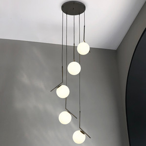 Duplex Villa Lobby Pendant Lamp Modern Nordic Spiral Stair Hanging Light Dining Living Room Hotel Chandelier Lamp Include LED