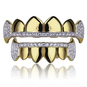 18K Real Gold Teeth Grillz Caps Iced Out Top & Bottom Vampire Fangs Dental Grill Set Wholesale