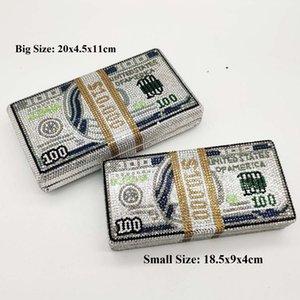 (En stock) DE CASH RICHE STACK $ 100 Dollars Sac argent Femmes cristal boîte d'embrayage soir Sacs cocktail Dîner et sacs à main 200919