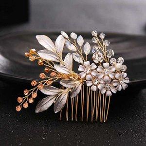 Cristal AiliBride Or Fleur nuptiale Peignes mariage cheveux Accessoires femmes Coiffe de mariée Bijoux