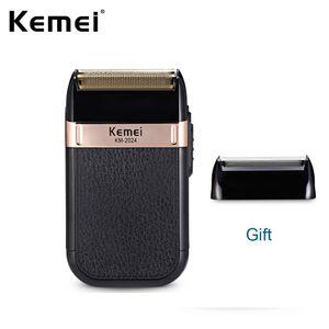 Kemei KM-2024 rasoio elettrico per gli uomini Twins Lama impermeabile alternativi Cordless rasoio da barba USB ricaricabile Macchina Barber Trimmer
