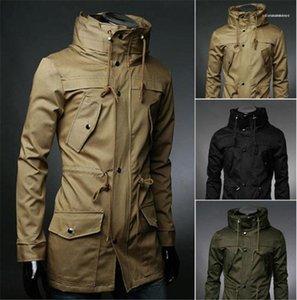 Пальто с карманами с длинным рукавом Тонкий Мужская мода верхней одежды Tops Solid Color Mens Trench