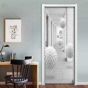 DIY PVC auto-adesivo Stereo Porta Etiqueta 3D Bola Escadas Corredor Waterproof Wallpaper Mural Quarto Porta Decoração Decal