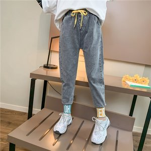 2020 New Girls Jeans Letter Elastic Ankle Joggers Denim pants For kids jeans girls Children Clothes Size 6 7 8 9 10 11 12 Years
