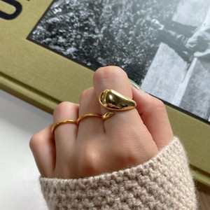 Fashion temperament S925 sterling silver ring geometric irregular opening adjustable gold ring for women wedding fine jewelry