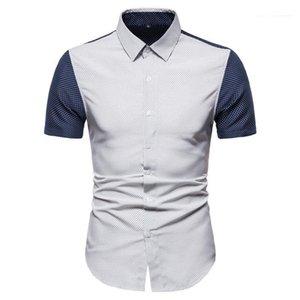 Camicie Designer Polka Dot modello Camicie Casual Camicie maniche corte con pannelli colore Mens Abbigliamento Moda Uomo
