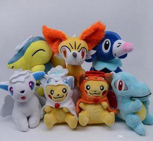 "Top New 7 estilos 5"" Presentes 13CM Alola Vulpix PKC Totodile Cyndaquil Fennek Popplio Plush Doll Anime Collectible Stuffed Pingentes brinquedos macios"