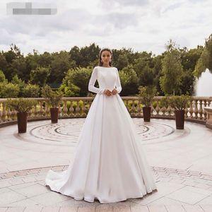Elegant Satin Wedding Dresses bateau Long Sleeves Lace Bride Gowns Muslim applique Wedding Gown Covered Back Vestido de novia 2020