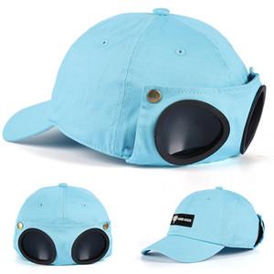 4 цвета 2020 новый милый корейский Pilot очки бейсболке Творческий Прохладный Hat с очки Хлопок моды SNAPBACK Хип-хоп кепки шляпы оптовых