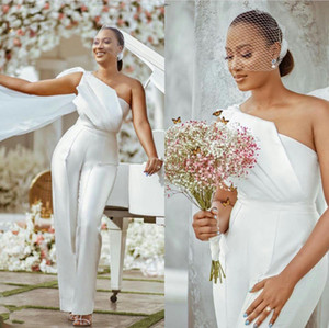 Plus Size Jumpsuit Wedding Party Dresses with Ruched One Shoulder Bride Formal Gowns Long Pant Suit Special Occasion Dress