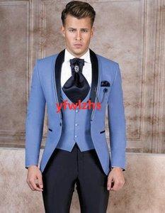Handsome One Button Groomsmen Shawl Lapel Groom Tuxedos Mens Wedding Dress Man Jacket Blazer Prom Dinner suits (Jacket+Pants+Tie+Vest) W309