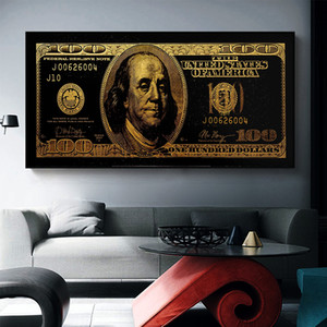 Aahh Gold Standar Moderne Pop Culture Money Style Art Street Art Inspirational Art mural Toile murale Picture pour la décoration de la maison LJ200908