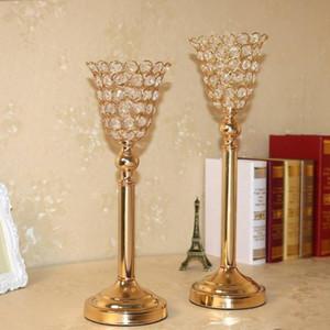 Do casamento de Cristal central do casamento Decoração Acessórios de Metal Candle Holder Flower Stand Tall Anniversary Party Candlestick