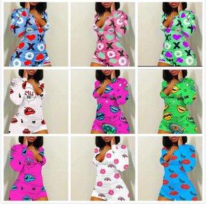 Diseñador Mujeres Jumpsuit Pajama Onesies Nightwear Playsuit Botón Botón Skinny Dibujos Animados Imprimir Pantalones V-Cuello Corto Onesies Mampers C185