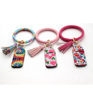Chapstick Keychain Neoprene Lipstick Holder PU Leather Bracelet Printed Tassel Lip Balm Cover Lipstick Holder Bag 17 Designs DDC2133