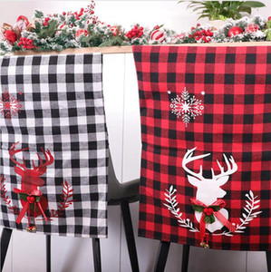 Christmas Chair Cover Cloth Red Black White Grid Seat Cover Elk Printing Chair Cover Home New Year Party Decoracion Sea Shipping DDA528