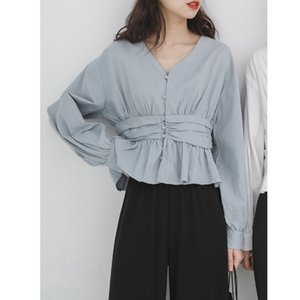 Casual Long Sleeve Solid White Loose Shirts Women Blouses and V-neck Tops Button Vintage Office Lady Clothes Elegant 2020 New