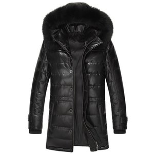 Men's Sheepskin Coat Genuine Leather Winter Duck Down Jacket Men Fur Collar Hooded Long Coat Men Jacket 15L1568YY303