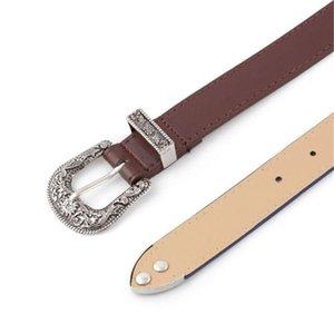 Jeans Belt Women Black PU Leather Western Cowgirl Waist Belt Metal Buckle Waistband Belts For Women Luxury Retro