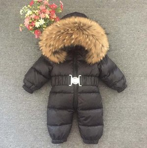 Russia Winter Baby Snowsuits kids Jumpsuit hold -25 18M-4T Boy Girls Warm natural fur Down Jacket Kids Clothes Infantil RompersGQTI