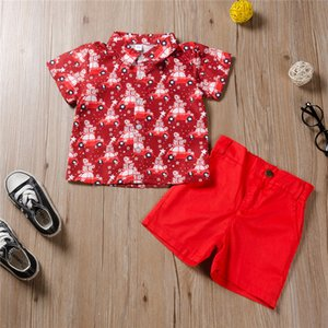 2020 New Children's Clothing Christmas Car Print Top + Shorts Boys Sets Printing 2 Sets Of Baby Boys Clothing Wholesale Europe And America