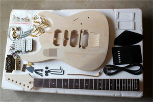 Factory electric semi-finished guitar kits,DIY guitar,No Paint,Gold Hardware,Double Rock Bridge,can be changed