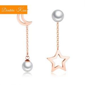 Star Star Moon Pearl Asimmetrica Orecchini Asimmetrici in acciaio inox in acciaio inox intarsiato in oro rosa moda moda donna regalo di gioielli