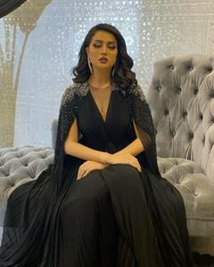 Vestido de Arabia Saudita atractivo más el tamaño de vestidos de noche una línea 2021 Mujeres Vestidos Negro tul rebordear partido de la noche formal vestidos de baile
