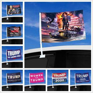 Auto-Fenster-Flags Trump Flagge Hang 45 * 30cm Dekor Banner Keep America Großer Donald Trump 2020 Kampagne Flags für Auto DHL-freien Verschiffen