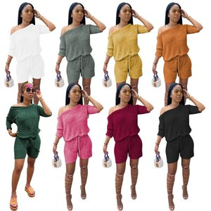 Frauen 2 zwei Stück Kleidung einer Schulter kurze Hülsenober Mini Shorts Outfits Sets plus size Trainingsanzug Mode Street Sommer-Herbst-Kleidung