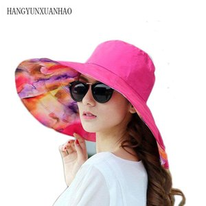 Floppy Sun Hat Beach Summer Hats For Women Solid Color Floral Print Uv Protection Wide Brim