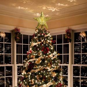 Decoración del árbol de Navidad de luz LED 3D Christmas Star abrir y cerrar la noche del proyector de luz de proyección Tormenta de nieve de Navidad Adornos