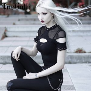 InsGoth Kadın T-şortlar Gothic Punk Chix Siyah T-shirt Casual Slim Mesh Delik Perçin Seksi Kısa Kollu Üst Hip Hop Kadın Goth Top 200925