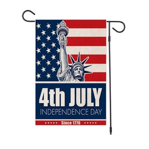 New Linen Flag Independence Festival Courtyard Decoration Happy 4th Garden Day Flag 47*32cm Of Shuangpian American 2020 July yxleY mx_home