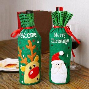 Decoración del regalo de Navidad botella de vino cubierta Elder Elk muñeco de nieve bolsa de la botella de vino Vino de la Navidad Botella cubierta decoración envío