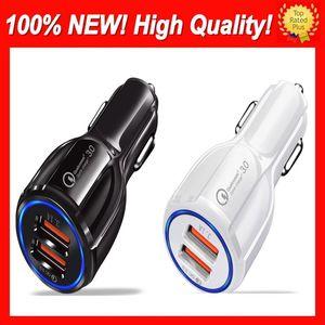 Chargeur double USB Chargeur rapide Charge rapide 3.0 Chargements de téléphonie mobile 2 Port USB Chargeurs de voiture Fast Car pour iPhone Samsung Huawei Tablet Car-chargeur