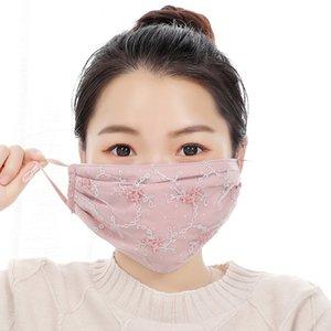 2020 Bayanlar Çiçek İşlemeli Dantel Moda Yüz Sonbahar Ve Kış toz geçirmez Anti-sis Nefes yıkanabilir yeniden maskesi