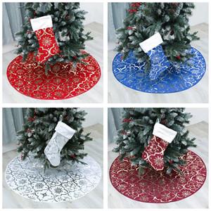 8 estilos Árbol de Navidad Festival falda de la base del árbol de interior Decoración de la Navidad delantal falda del árbol de la decoración de casa de vacaciones T3I51101