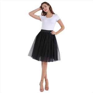 Women 7Layer Midi Tulle Tutu Skirt Adult Fashion Elastic High Waist Princess Pleated Lolita Petticoat Dance Skirt Jupe Falda